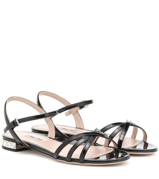 Miu Miu Crystal-embellished sandals in black