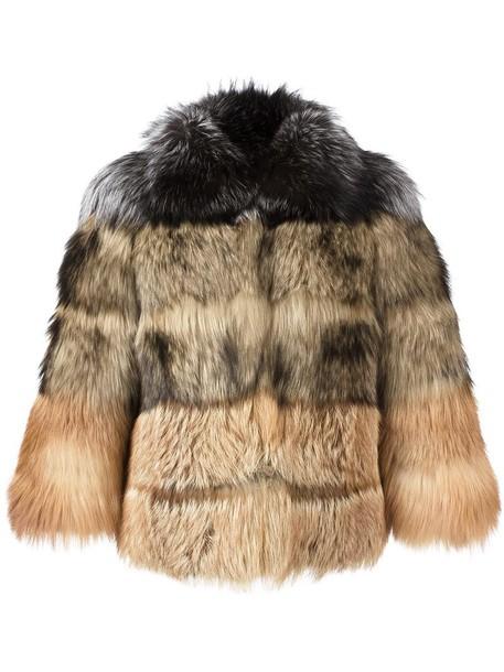 Elizabeth and James coat short fur fox women spandex nude
