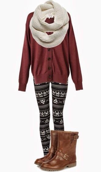 sweater maroon oversized sweater oversized cardigan cute winter cozy warm leggings