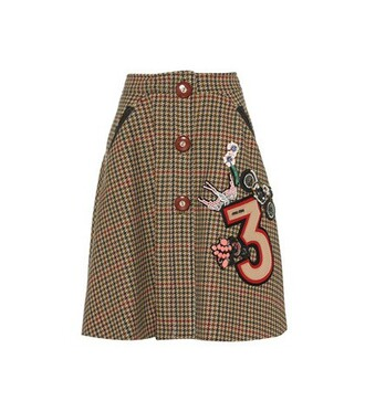 skirt embellished wool brown