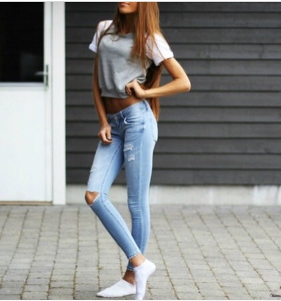 Jeans tumblr tumblr outfit tumblr girl tumblr clothes tumblr shirt casual comfy grey ...