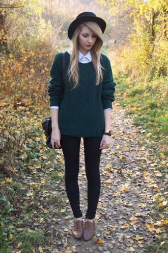 sweater green white shirt brown shoes hat skinny pants leggings black knitted sweater cable knit