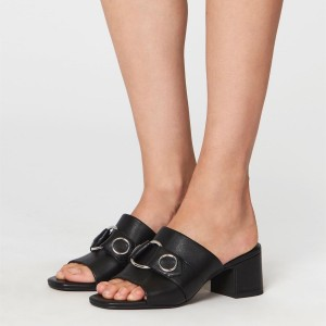 Black Open Toe Mule Chunky Heel Sandals