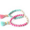 Sale: turquoise or pink elephant tassel bracelet with freshwater pearls, natural stone, rhinestones, tassel - the lucky elephant exclusive
