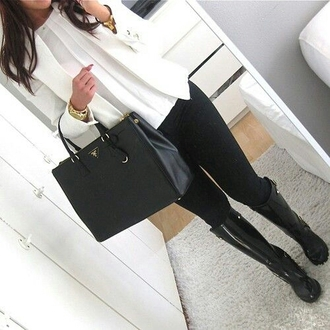 top white long sleeves blazer black skinny pants boots shoes bag jacket