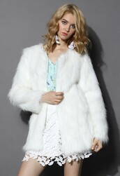 chicwish,clam,faux fur coat