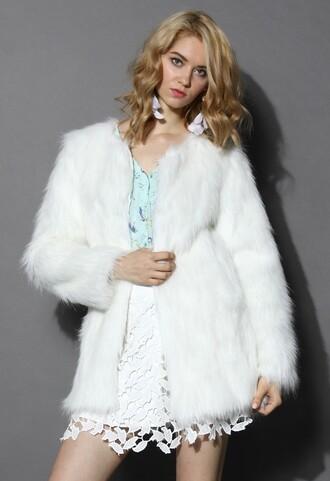 chicwish clam faux fur coat