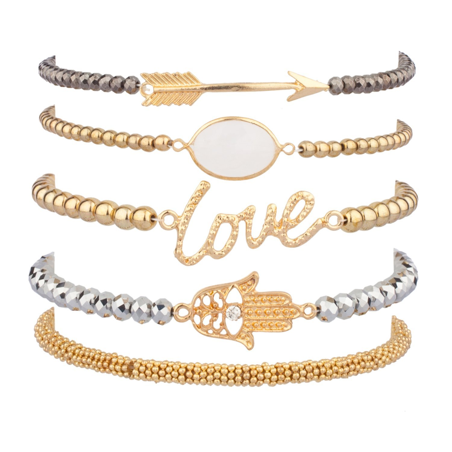 Amazon.com: Lux Accessories LOVE HAMSA ARROW Beaded Arm Candy Friendship Rhinestone Stretch Bracelet Set: Jewelry