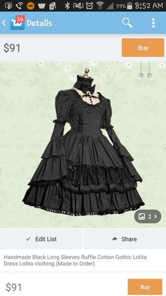 dress little black dress gothic dress long sleeves different victorian dress gothic lolita