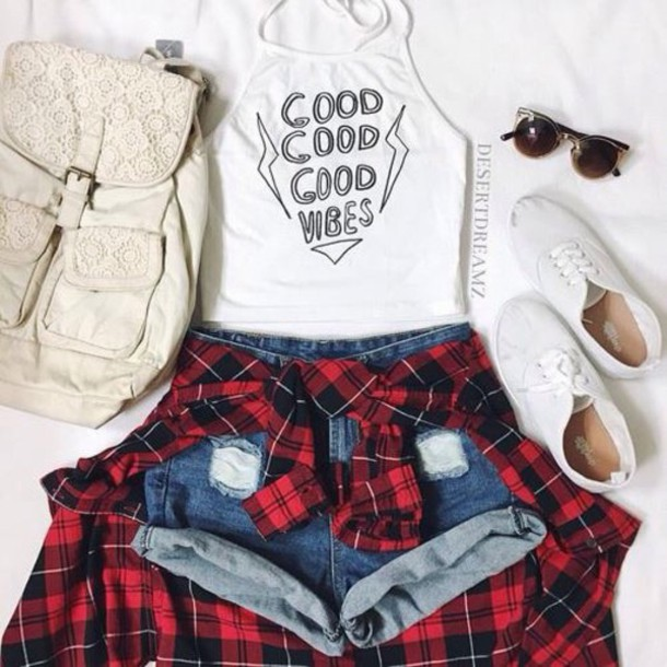 shorts tank top blouse skirt shoes