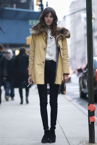 alexa chung jacket winter outfits vintage fall outfits parka fur hood yellow mustard