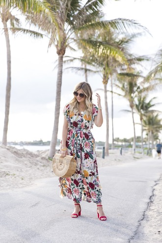 suburban faux-pas blogger dress sunglasses jewels bag shoes midi dress floral dress cult gaia bag sandals summer dress