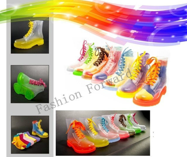 Fashion girls' lace up transparent rain boots lady crystal candy color martin