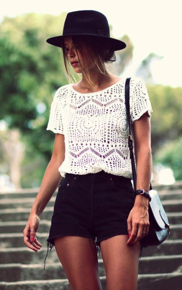 black black hat black hat, High waisted shorts top lace lace shirt lace blouses lace blouse shirt lace blouse white lace tops white lace white lace top white blouse white shirt white top white tops white black high waisted shorts leather bag black leather bag jeans bag