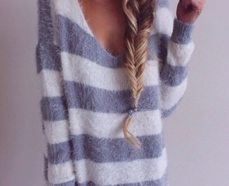stripes sweater white grey sweater gray