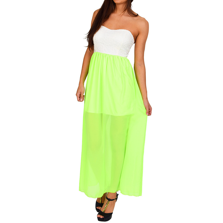 Ivory Neon Green Color-Block Maxi Dress | Emprada