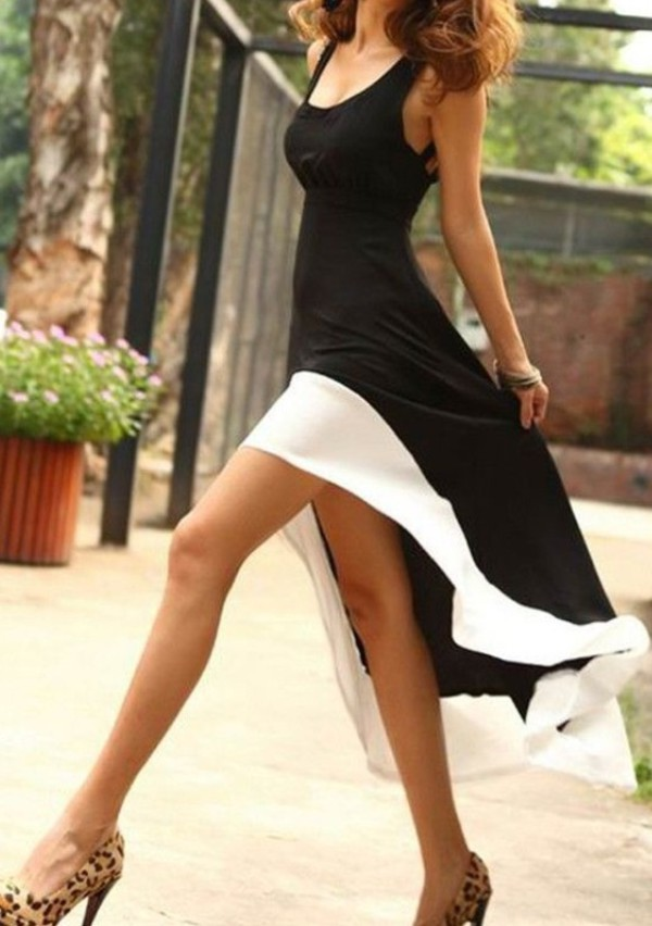 long dress dress black and white dress