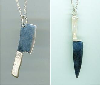 jewels necklace knive cool jewelery knives zombie silver silver necklace butcher knife steak knife creepy