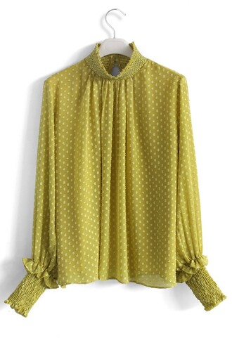 shirt dotted flocks chiffon top in mustard chicwish mustard chiffon top dotted