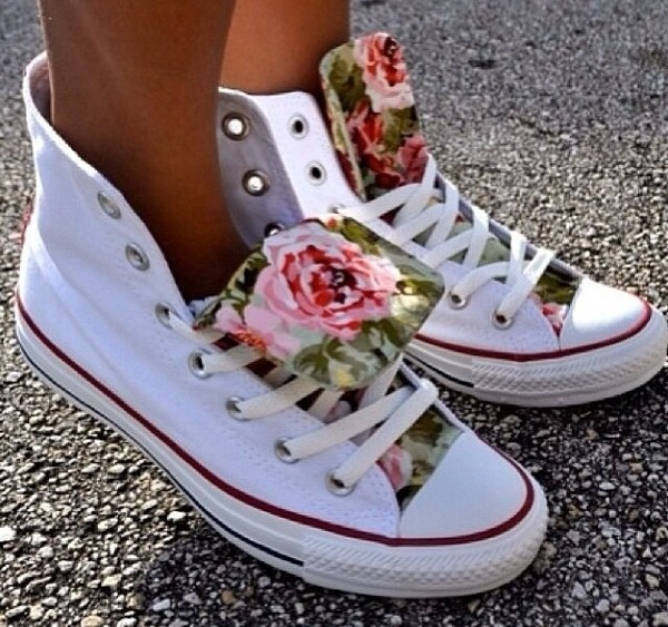 shoes sneakers flowers army green