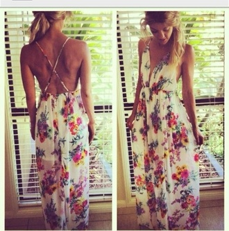 dress maxi floral pretty summer bohemian