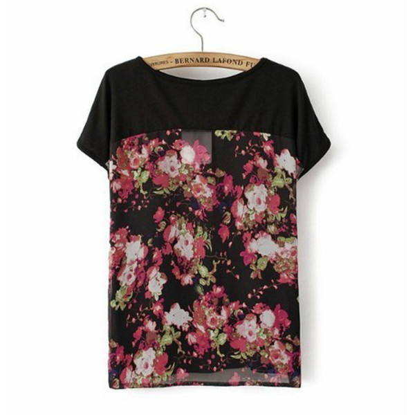 t-shirt top blouse floral round neck see through