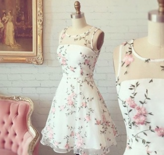 dress flower dress cute floral summer red flowers white dress pink flowers
