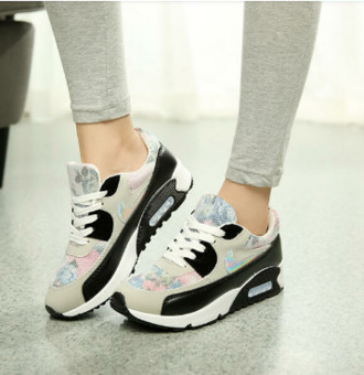 shoes floral casual lace up wedge sneakers