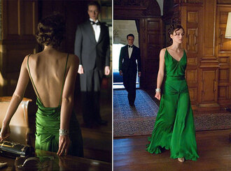 dress green long atonement movie celebrity keira knightley jewels