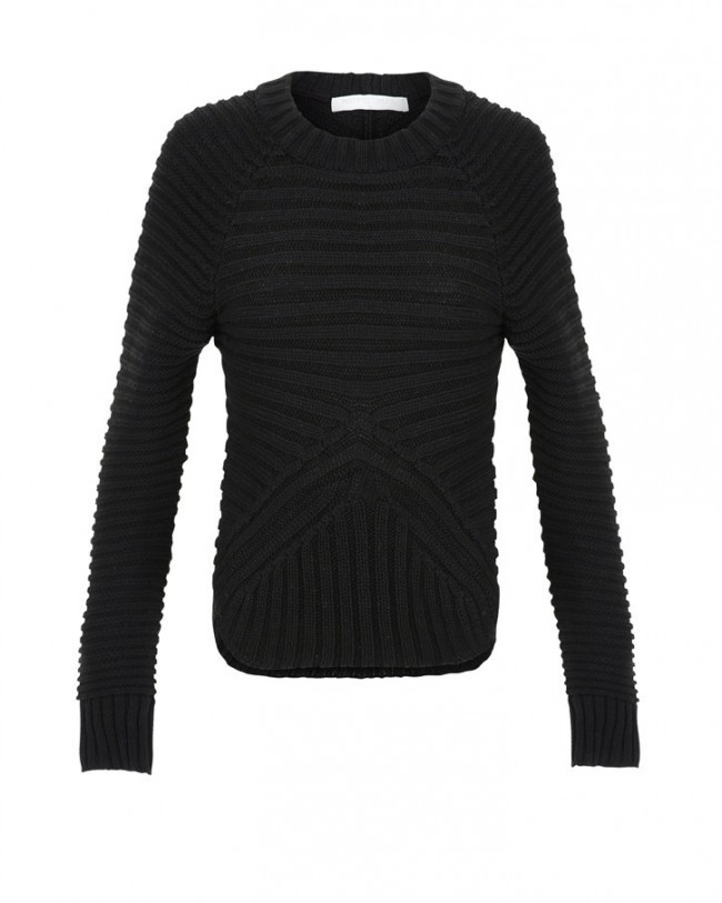 Minty meets munt rib knit sweater in black