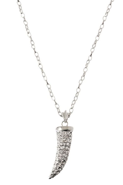 Crystal Tusk Horn Pendant Necklace