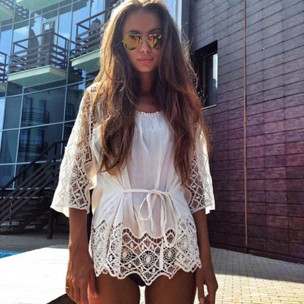 blouse white lace bikini loose