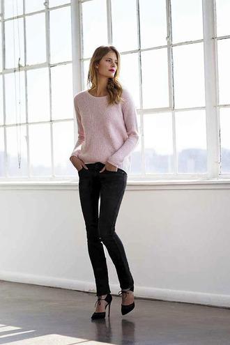 jeans make-up baby pink blogger le fashion black heels