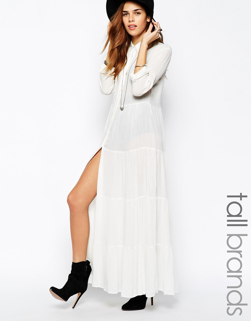 Glamorous Tall Tiered Maxi Shirt Dress at asos.com