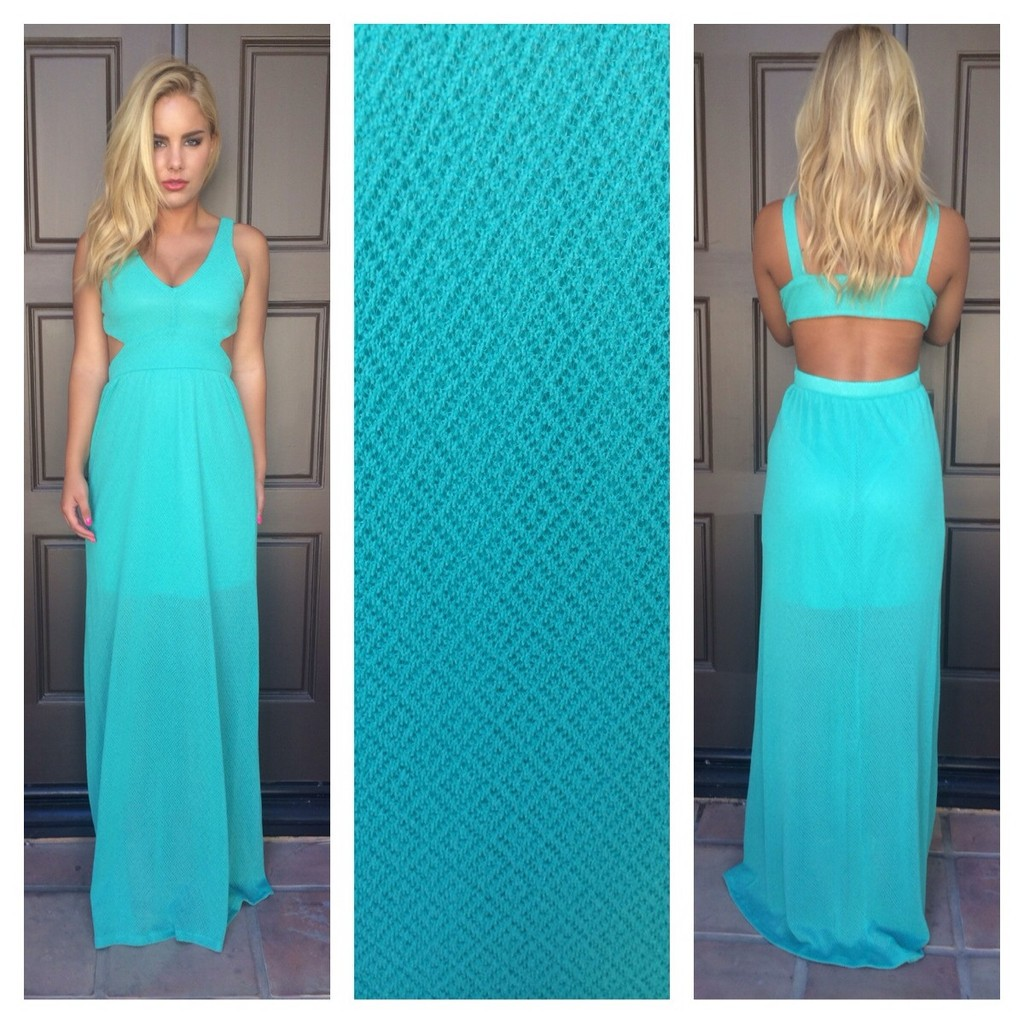 Teal open back maxi dress