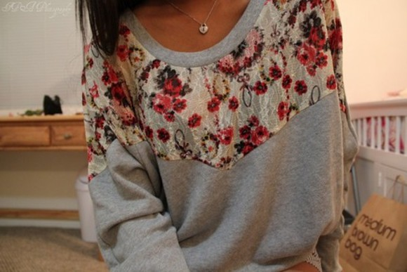 girl floral gray pattern with flower hot pattern clothes pullover sweater floral lace grey floral pullover country style vintage shirt girly floral cute mediumbrownbag? jumper floral oversized red flowers patch t-shirt