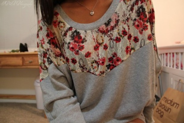 clothes pullover sweater floral lace grey floral pullover country vintage shirt girly girl floral cute mediumbrownbag? jumper floral, lace, grey, oversized, pink, white red flowers patch t-shirt