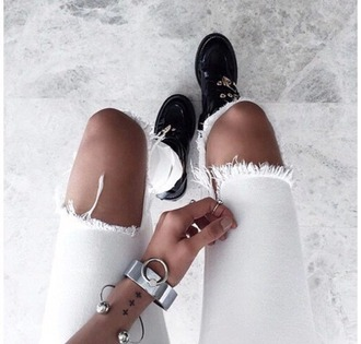 shoes black black shoes leather glitter white ripped jeans white jeans accessories jewels sneakers boots