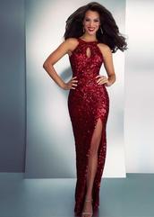 dress,prom dress,evening dress,sequins,sequin dress,red,red sequins,red sequin dress,halter neck,full length,sparkle,maxi dress,sparkly dress,sexy prom dress,sequin prom dress,red prom dress,long evening dress,evening outfits,formal dress,formal event outfit,mermaid prom dress,prom dress 2016,red prom dresses 2016,sexy high slit dress