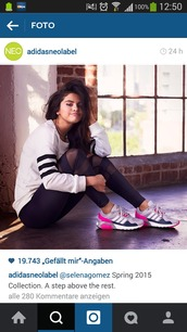 selena gomez,adidas,sneakers,leggings,black.,blackfashion.,style,fashion,shoes
