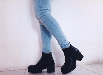 shoes black black boots heels boots platform boots platform shoes