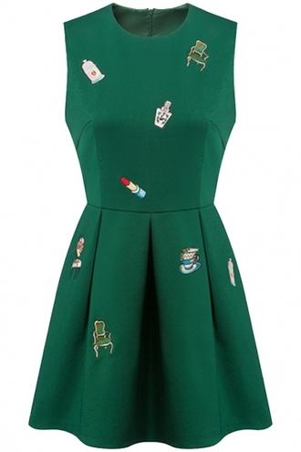 dress green dress sleeveless embroidered dress round neck