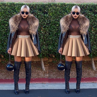 skirt sunglasses faux fur jacket sheer sheer bodysuit turtleneck skater skirt boots trendy streetstyle autumn/winter fall outfits fashion mesh bodysuit nude beige
