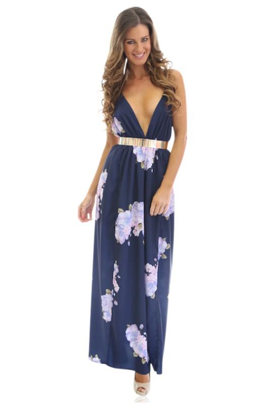 Navy floral v plunge neck maxi dress