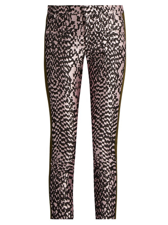 jacquard leather pink pants