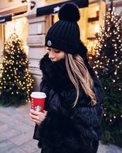 hat,tumblr,beanie,pom pom beanie,moncler,black beanie,jacket,fur jacket,black jacket
