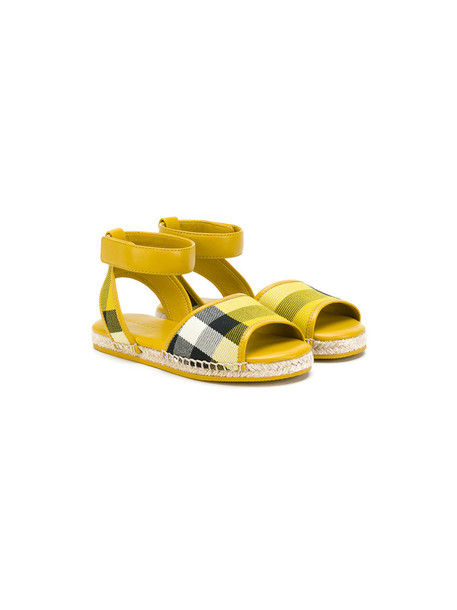 Burberry Kids 23 sandals leather cotton yellow orange shoes