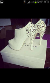 shoes,high heels,booties,white,studs