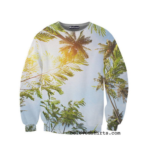 shirt sunshine palm tree print relaxed sweater