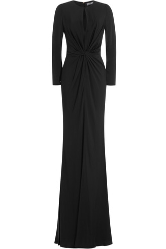 gown draped black dress